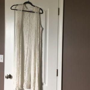 Long white lace vest